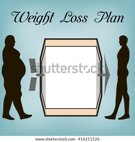 Weight loss plan the fat man and the man of a sports Constitution , the notice for plan weight loss diet, in vector for design or printing. - stock vector