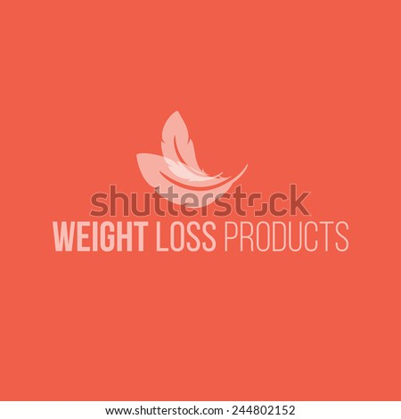 Weight loss product logo design vector template. Feathers icon - stock vector