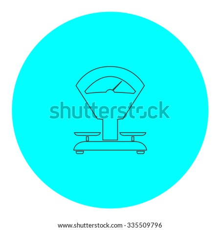 Weight Scale. Black outline flat icon on blue circle. Simple vector illustration pictogram on white background - stock vector