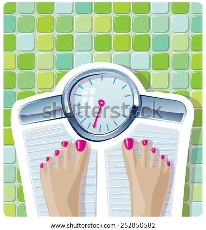 Weight Scale Feet standing and weighing on a scale A vector illustration of a women standing on a scale and weighing herself. Ideal for wellness, diet, exercise, health and obesity.  - stock vector