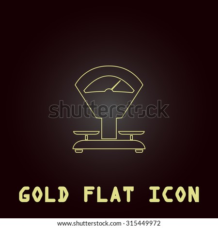 Weight Scale. Outline gold flat pictogram on dark background with simple text.Vector Illustration trend icon - stock vector