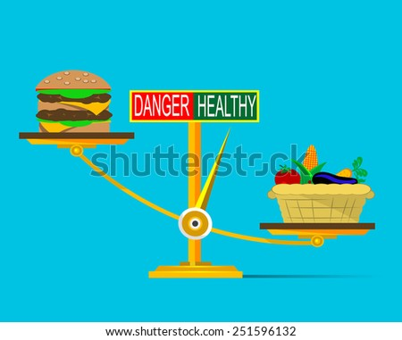 Weighting scale inclined to the side of healthy food Vector illustration. - stock vector