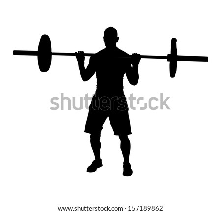 Weightlifter black vector silhouette isolated on white background. 100 kg up. - stock vector