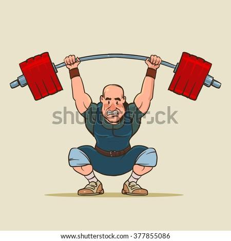 weightlifter, funny cartoon character, vector illustration, sport motivation, gym - stock vector