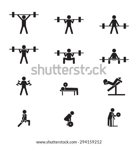 Weightlifting and gym icons set - stock vector