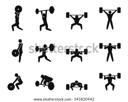 Weightlifting icon set - stock vector