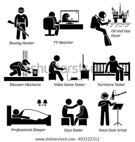 Weird Unusual Odd Job - Bounty Hunter, TV Watcher, Oil and Gas Diver, Elevator Mechanic, Video Game Tester, Furniture Testing, Sleeper, Face Feeler, Voice Over Artist - Stick Figure Pictogram Icons - stock vector