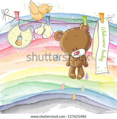 Welcome baby - baby announcement card - stock vector