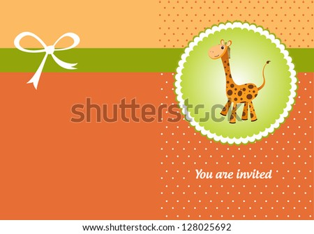 Welcome baby greeting card with cute giraffe - stock vector