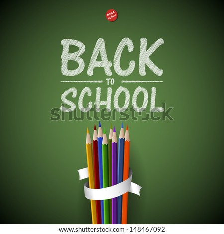 Welcome Back to school background with colorful pencils, vector illustration - stock vector