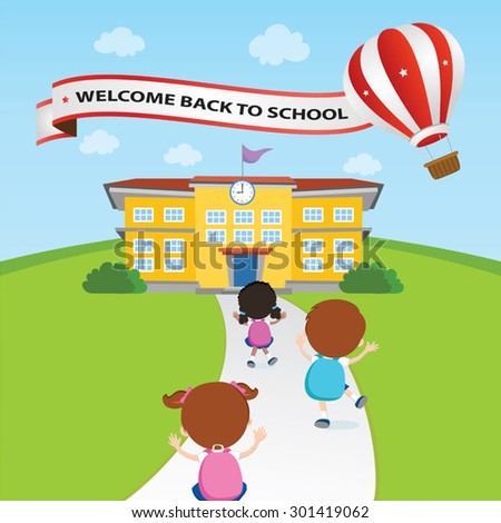 Welcome back to school balloon. Vector illustration of a hot air balloon with banner. - stock vector