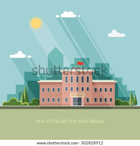 Welcome back to school. Building on the background of the city. Flat style vector illustration. - stock vector