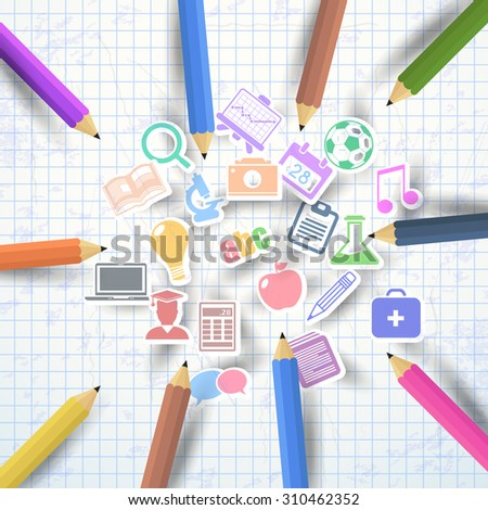 Welcome Back to School Concept Icons and Realistic Illustration Background, Vector Colorful Pencils Illustration - stock vector