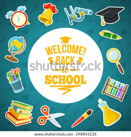 Welcome back to school. Education background design. Colorful frame vector composition.  - stock vector