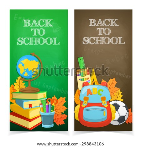 Welcome back to school. Education banners design. Colorful school objects and text. - stock vector