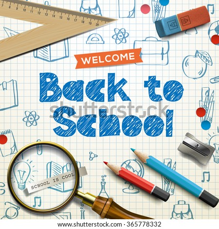 Welcome back to school, supplies, squared paper sheet texture, doodle background, vector illustration.