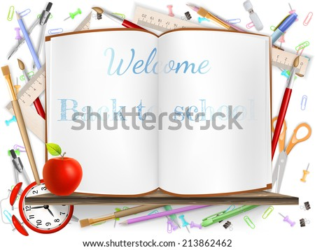Welcome Back to school template with schools supplies. EPS 10 vector file included - stock vector