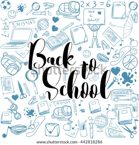 Welcome Back To School Typographical Background With School Icon Elements, template for school invitation, school banner, poster, flyer, brochure, school concept. school, school template, school back