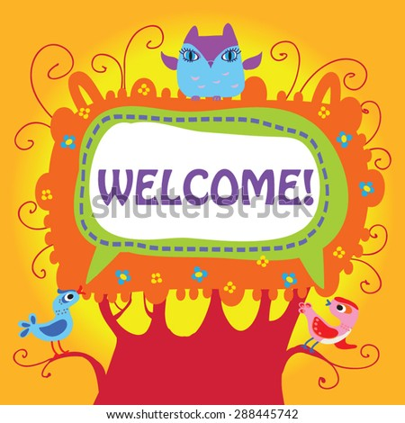 Welcome card design vector illustration cute stock vector royalty welcome card design vector illustration of cute birds and owlet on a tree with frame m4hsunfo
