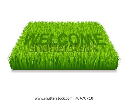Welcome. Doormat of the green grass - stock vector