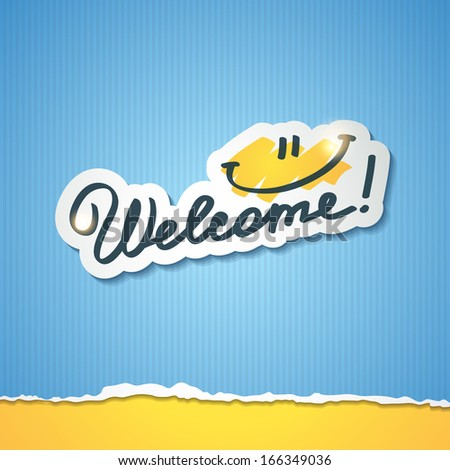 welcome, handwriting phrase, vector illustration - stock vector