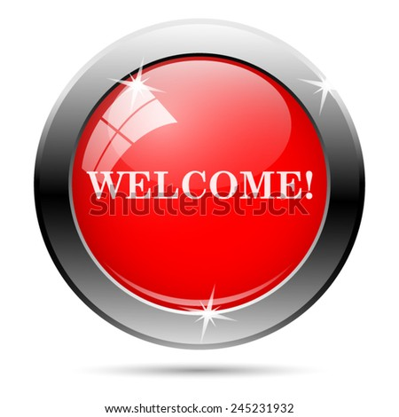 Welcome icon. Internet button on white background.  - stock vector