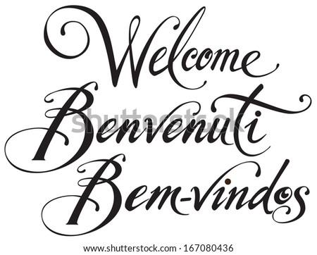 WELCOME in English, Italian, Portuguese - stock vector