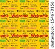 Welcome in multiple languages composed for tile-able seamless vector background - stock photo