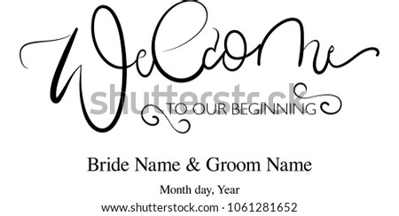 Welcome Lettering Sign Wedding Board Vector Editable Names Edit Yourself