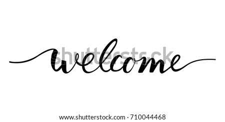 welcome lettering text modern calligraphy style stock vector