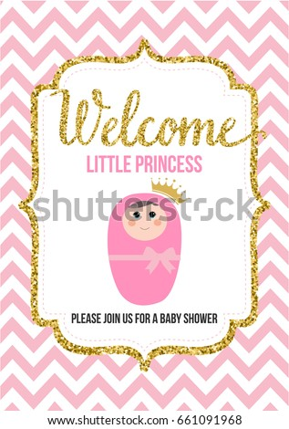 Welcome little princess baby shower invitation stock vector welcome little princess baby shower invitation stock vector 661091968 shutterstock stopboris Choice Image