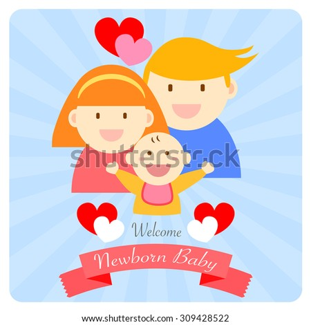 welcome newborn baby happy family vector card design