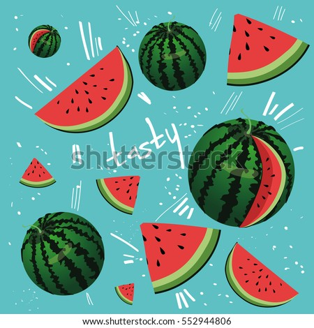 Welcome Summer inscription on the background of watermelon.