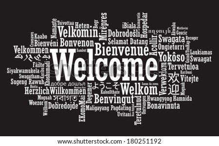 Welcome Tag Cloud in vector format - stock vector