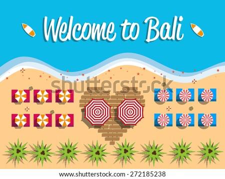 Welcome bali indonesia postcard flat design stock vector 272185238 welcome to bali indonesia postcard flat design beach view on top vector illustration altavistaventures Choice Image