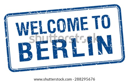 welcome to Berlin blue grunge square stamp