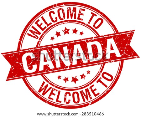 welcome to Canada red round ribbon stamp - stock vector