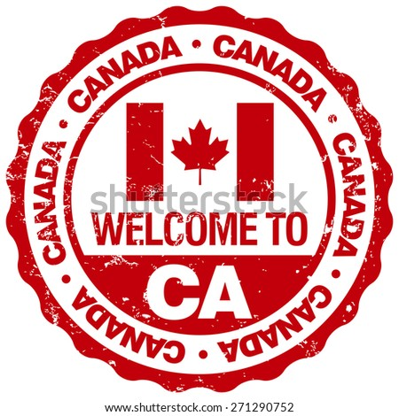 welcome to canada stamp - stock vector