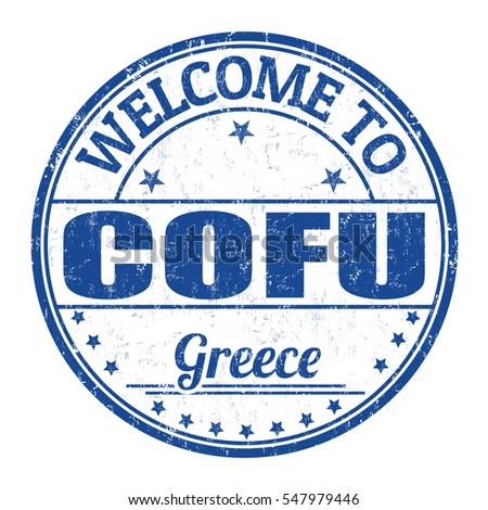 Welcome to Corfu grunge rubber stamp on white background, vector illustration