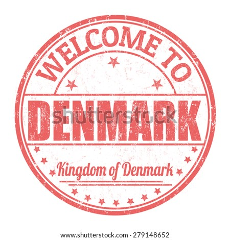 Welcome to Denmark grunge rubber stamp on white background, vector illustration