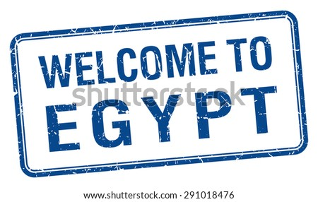 welcome to Egypt blue grunge square stamp