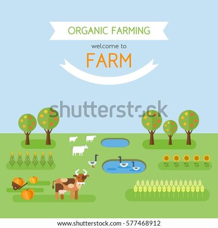 Welcome Farm Organic Farming Poster Template Stock Vector 577468912 ...