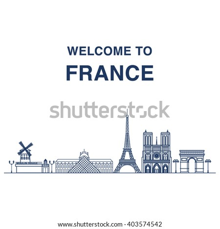 Welcome to France banner with outline illustrations of famous Parisian landmarks: Moulin rouge, Louvre, Eiffel tower, Notre dame cathedral and triumphal arch. - stock vector