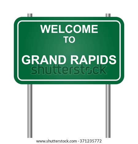 Welcome to Grand Rapids, green signal vector