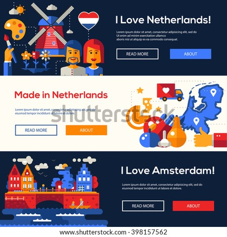 Welcome to Holland travel website flat design headers, banners set with famous Dutch symbols  - stock vector