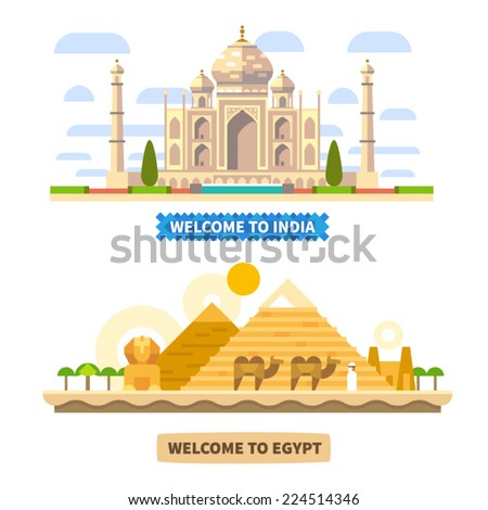 Welcome to India and Egypt. Temple and Pyramids. Vector Flat landscapes illustrations - stock vector