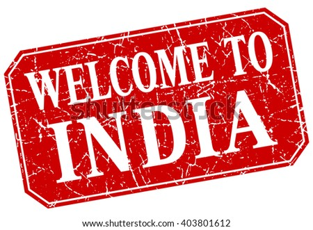 welcome to India red square grunge stamp - stock vector