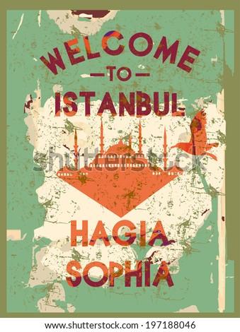 welcome to istanbul hagia sophia vector art - stock vector