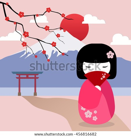 welcome to Japan background, Traveling flat vector illustration. - stock vector