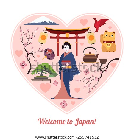Welcome to Japan. Japan travel background with place for text. Isolated heart shape with Japan flat icons. Japan symbols for your design. Vector illustration. - stock vector
